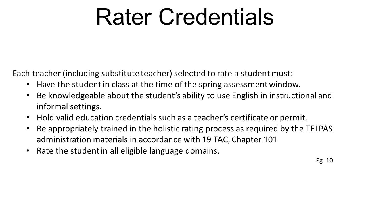 Rater Credentials Each teacher (including substitute teacher) selected to rate a student must: Have the student in class at the time of the spring ass