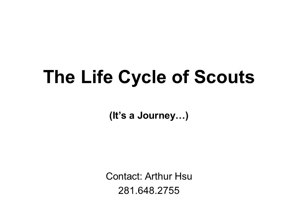 The Life Cycle of Scouts (It's a Journey…) Contact: Arthur Hsu 281.648.2755