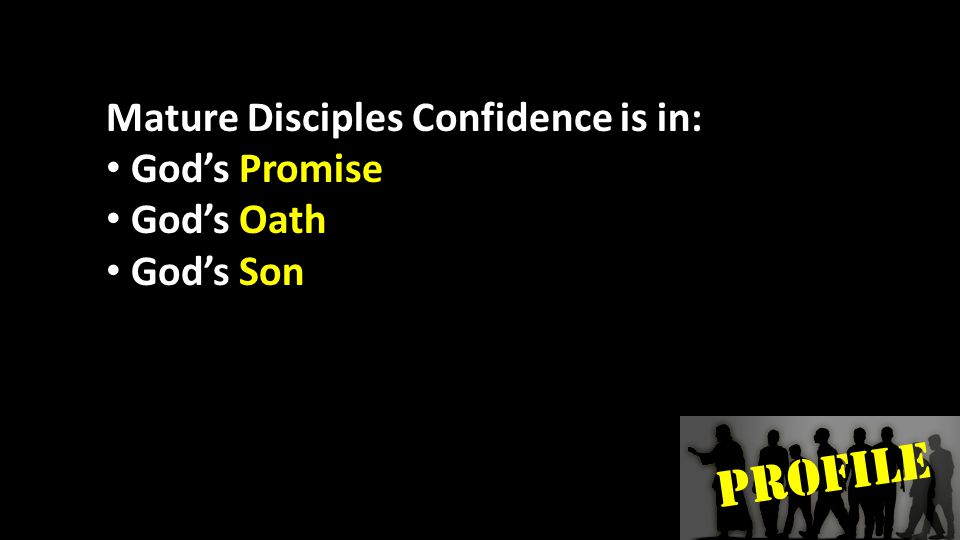 PROFILE Mature Disciples Confidence is in: God's Promise God's Oath God's Son