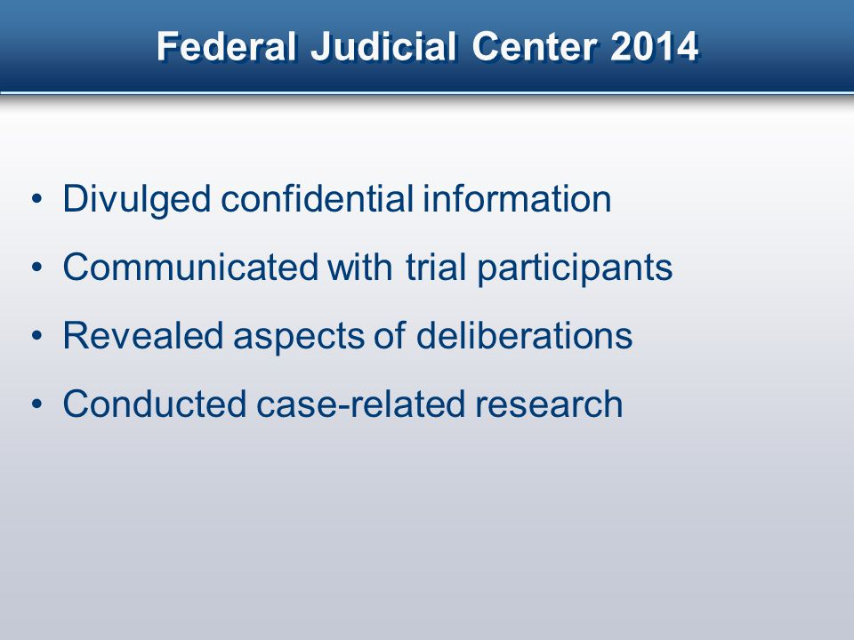 Federal Judicial Center 2014 Posted notice