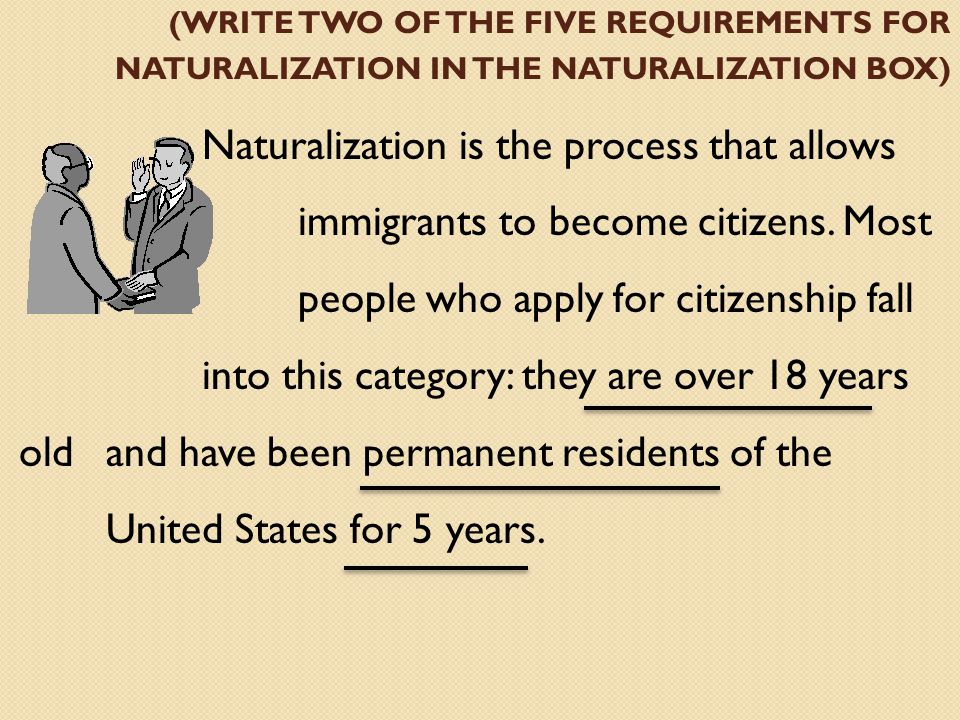 (WRITE TWO OF THE FIVE REQUIREMENTS FOR NATURALIZATION IN THE NATURALIZATION BOX) Naturalization is the process that allows immigrants to become citizens.