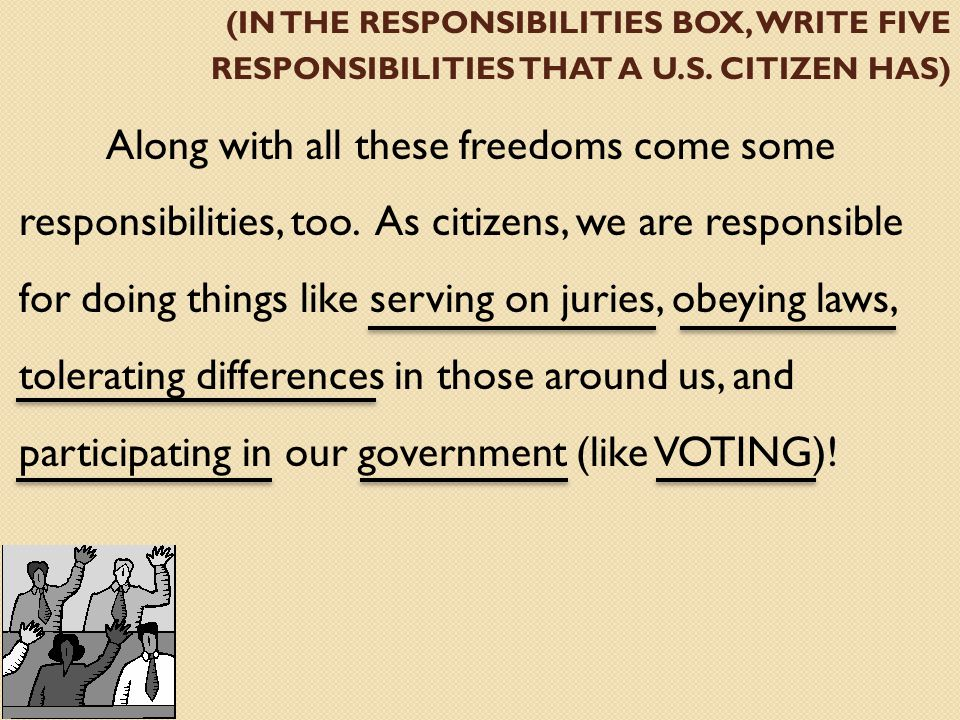 (IN THE RESPONSIBILITIES BOX, WRITE FIVE RESPONSIBILITIES THAT A U.S.