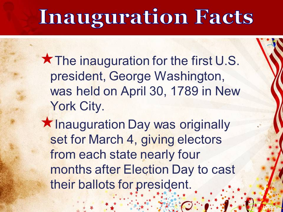  The inauguration for the first U.S.