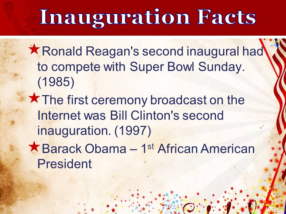  Ronald Reagan s second inaugural had to compete with Super Bowl Sunday.