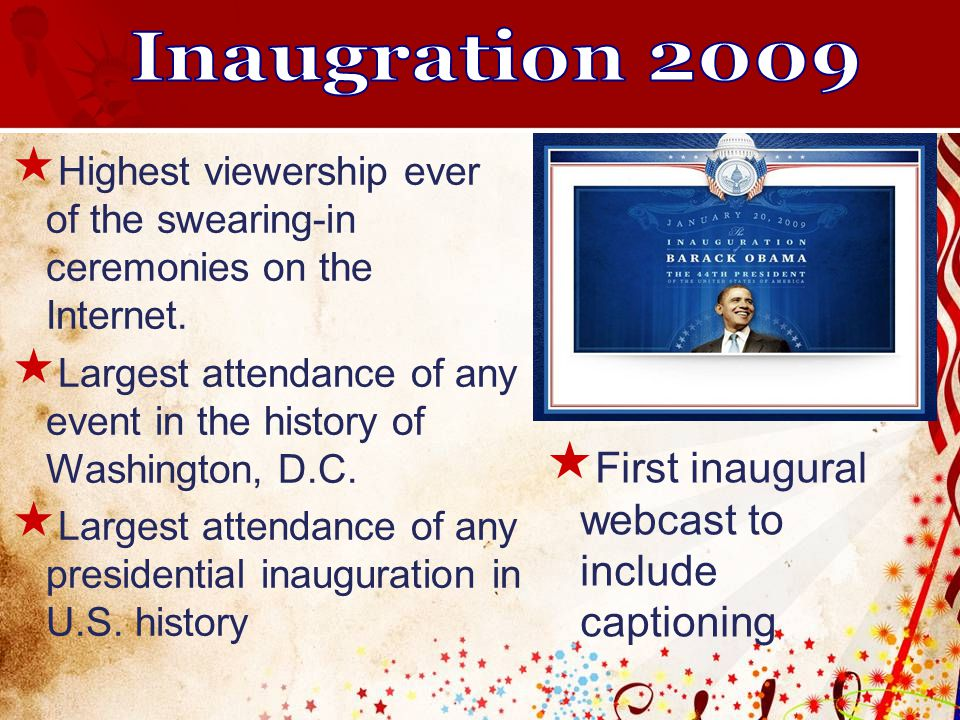  Highest viewership ever of the swearing-in ceremonies on the Internet.