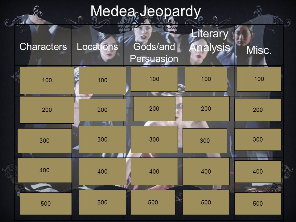 CharactersLocationsGods/and Persuasion Literary Analysis Misc. Medea Jeopardy 100 200 300 400 500 100 200 300 400 500 100 200 300 400 500 100 200 300