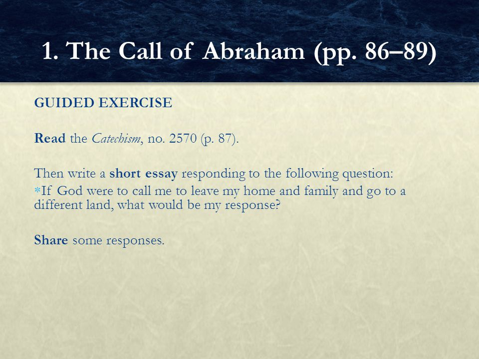 GRAPHIC ORGANIZER Complete the following table to organize the promises God made to Abram.