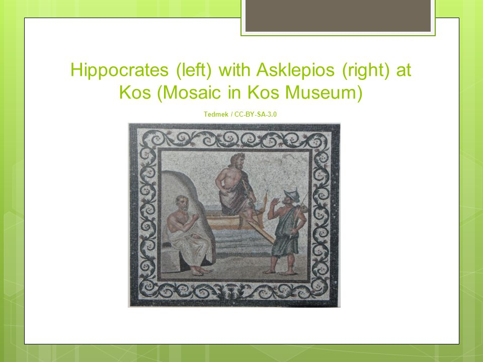 Hippocrates (left) with Asklepios (right) at Kos (Mosaic in Kos Museum) Tedmek / CC-BY-SA-3.0