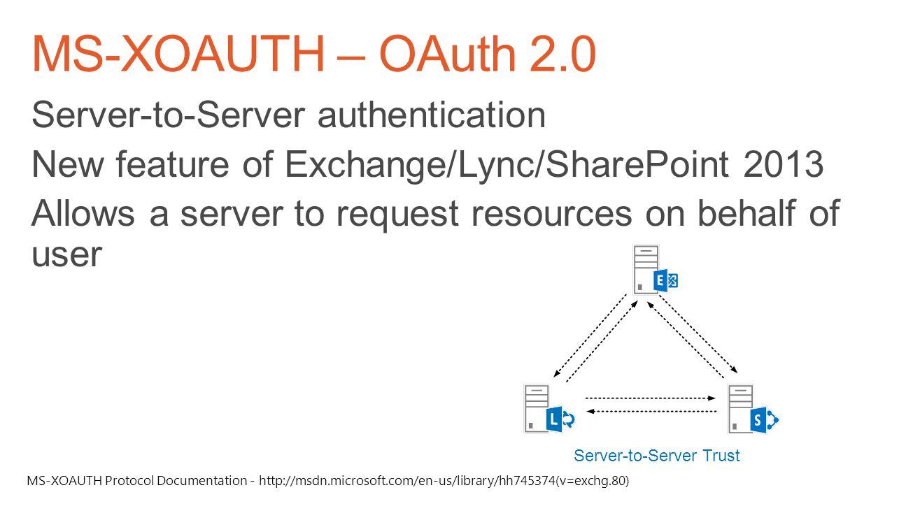 Server-to-Server Trust MS-XOAUTH Protocol Documentation - http://msdn.microsoft.com/en-us/library/hh745374(v=exchg.80)