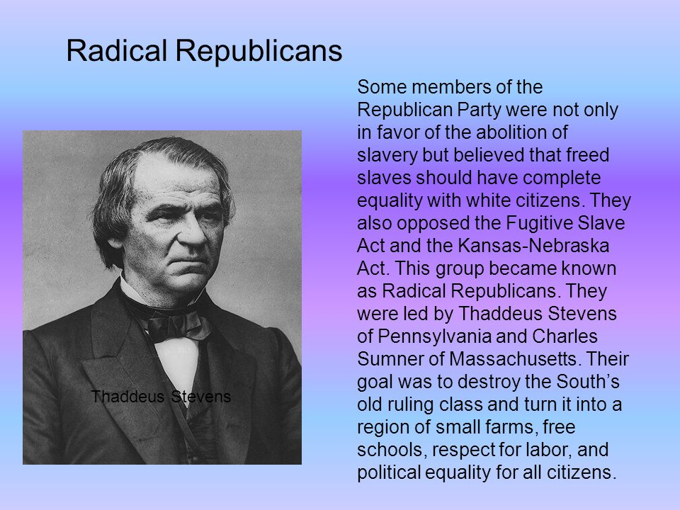 Some members of the Republican Party were not only in favor of the abolition of slavery but believed that freed slaves should have complete equality with white citizens.