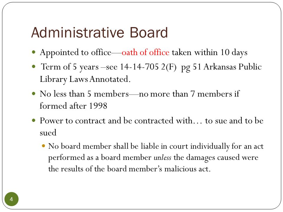 City Library Board of Trustees-- administrative 13-2-502 Board of Trustees pg.