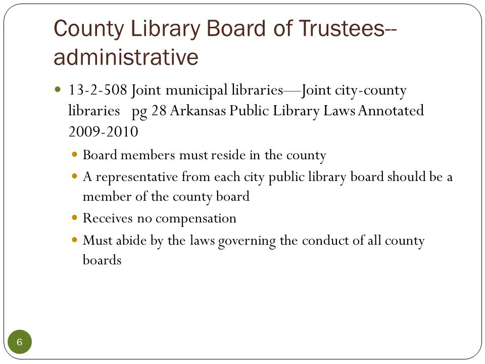 The Board Meeting The library director should work with the president of the board to set agenda –board members may contact the board president with agenda items The library director will then provide the necessary materials and information to prepare each member of the board for the meeting.