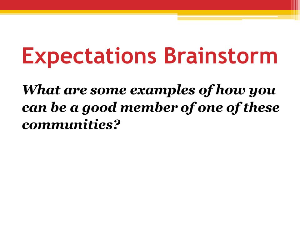 Expectations Brainstorm What are some examples of how you can be a good member of one of these communities?