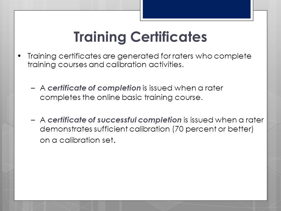 Holistic Rating Training  Basic Online Training (NEW RATERS) due by Friday, February 6, 2015  Calibration (NEW and RETURNING RATERS)  Attempt 1: du