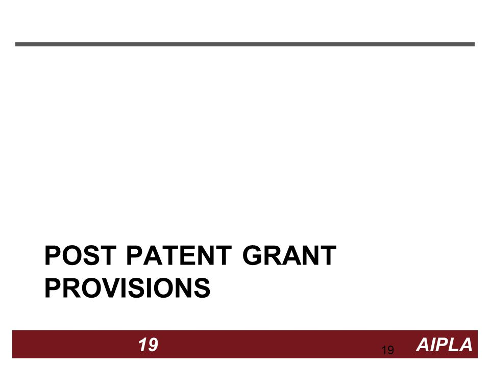 19 19 AIPLA Firm Logo POST PATENT GRANT PROVISIONS 19