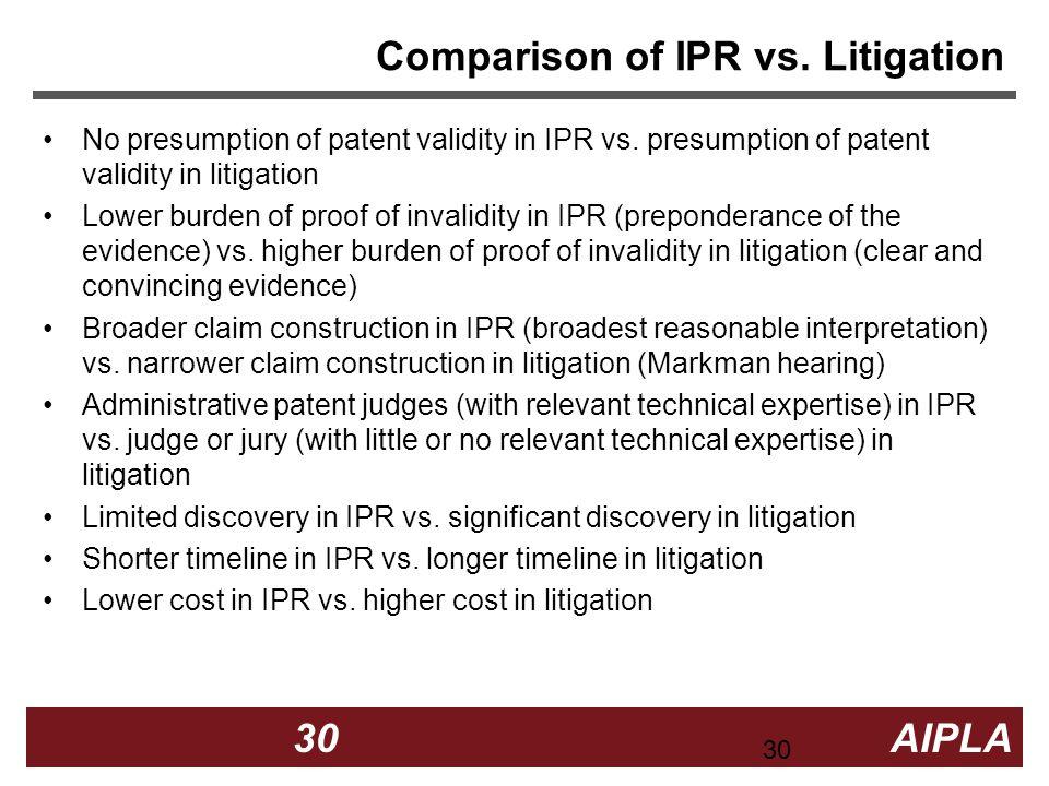 30 30 AIPLA Firm Logo Comparison of IPR vs. Litigation No presumption of patent validity in IPR vs. presumption of patent validity in litigation Lower