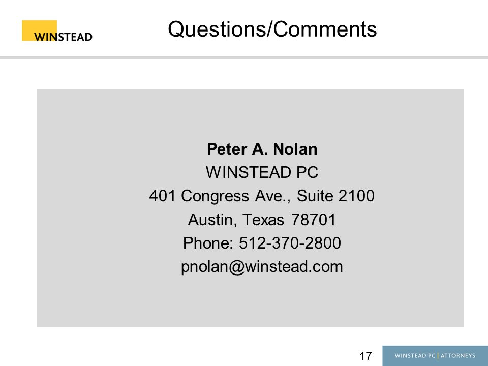 17 Questions/Comments Peter A.