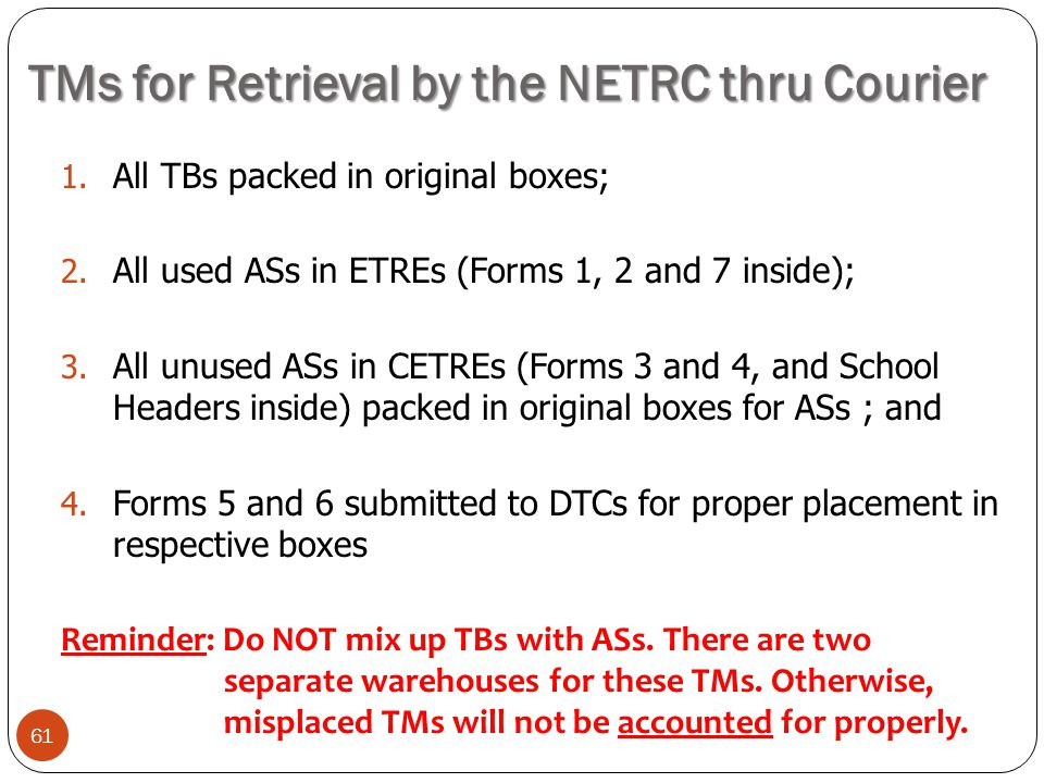 TMs for Retrieval by the NETRC thru Courier 61 1. All TBs packed in original boxes; 2. All used ASs in ETREs (Forms 1, 2 and 7 inside); 3. All unused