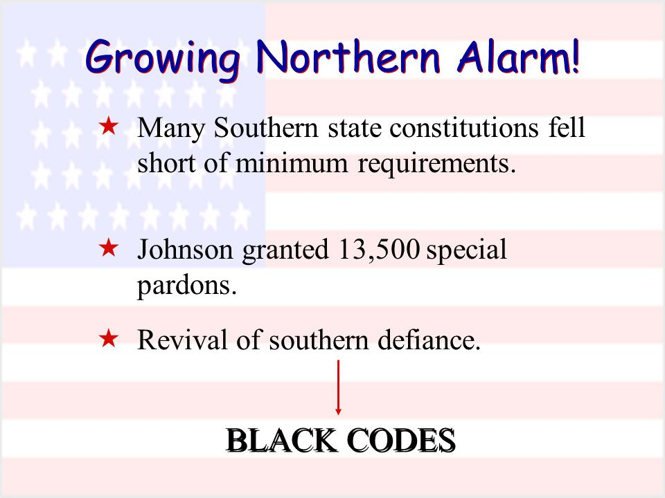 Growing Northern Alarm.  Many Southern state constitutions fell short of minimum requirements.