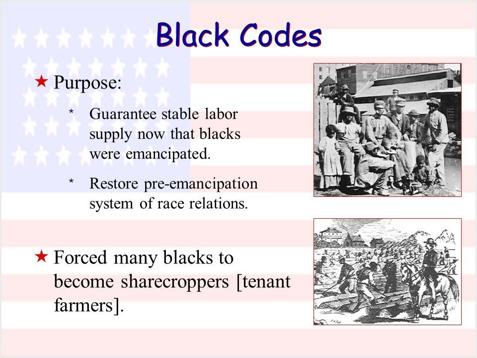 Black Codes  Purpose: * Guarantee stable labor supply now that blacks were emancipated.