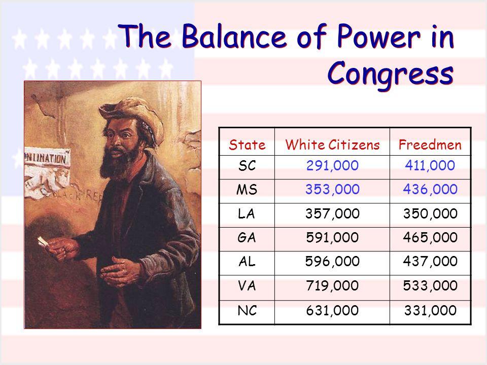 The Balance of Power in Congress StateWhite CitizensFreedmen SC291,000411,000 MS353,000436,000 LA357,000350,000 GA591,000465,000 AL596,000437,000 VA719,000533,000 NC631,000331,000