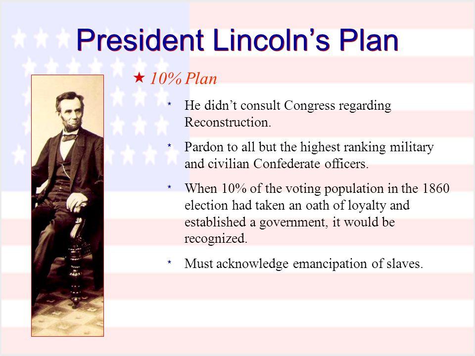 President Lincoln's Plan  10% Plan * He didn't consult Congress regarding Reconstruction.