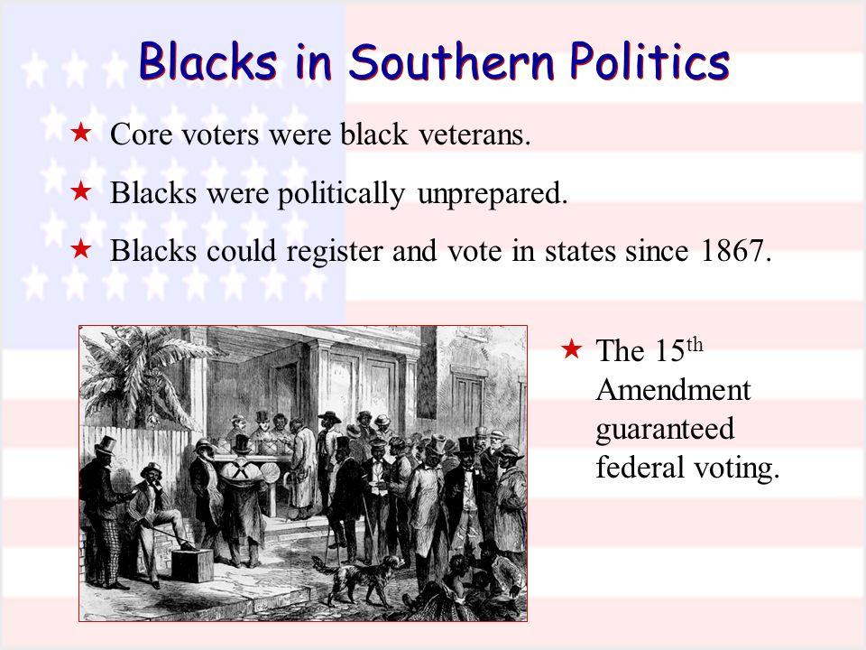 Blacks in Southern Politics  Core voters were black veterans.  Blacks were politically unprepared.  Blacks could register and vote in states since