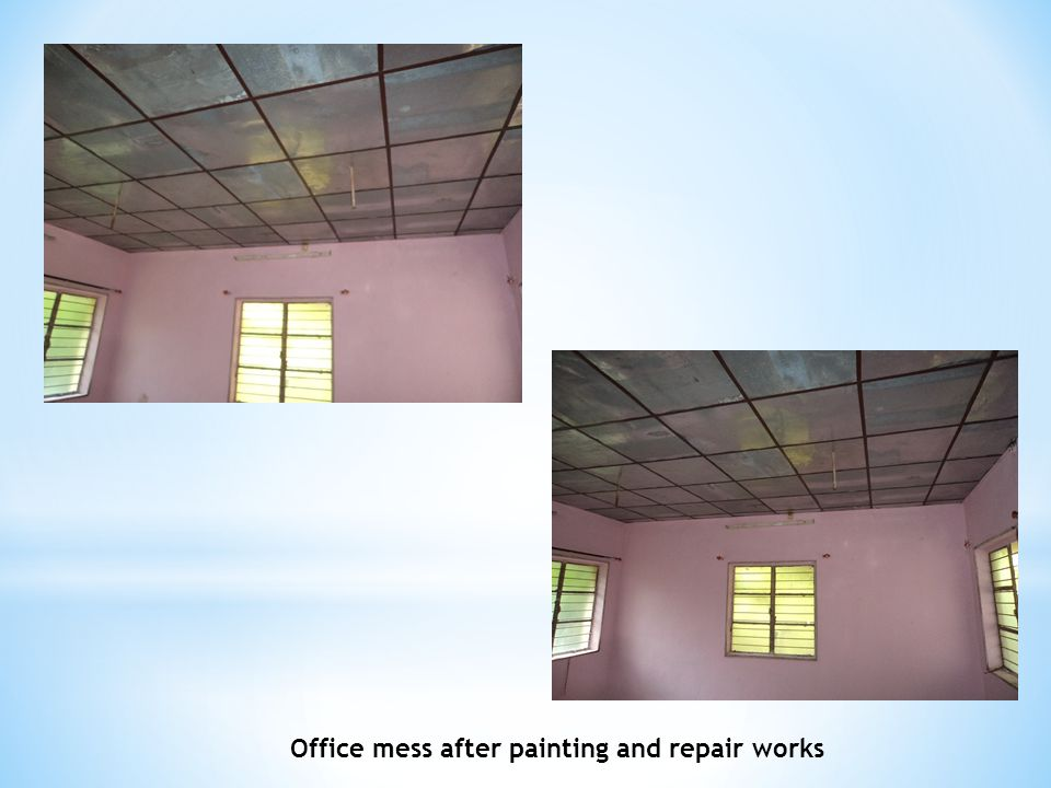 Office mess after painting and repair works