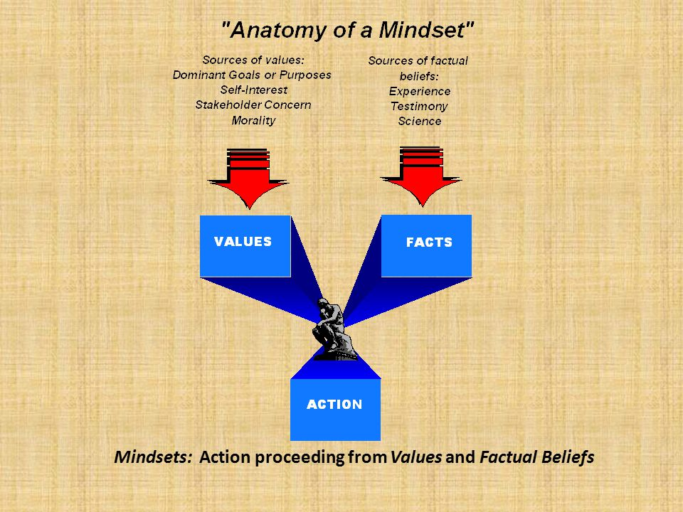 Mindsets: Action proceeding from Values and Factual Beliefs