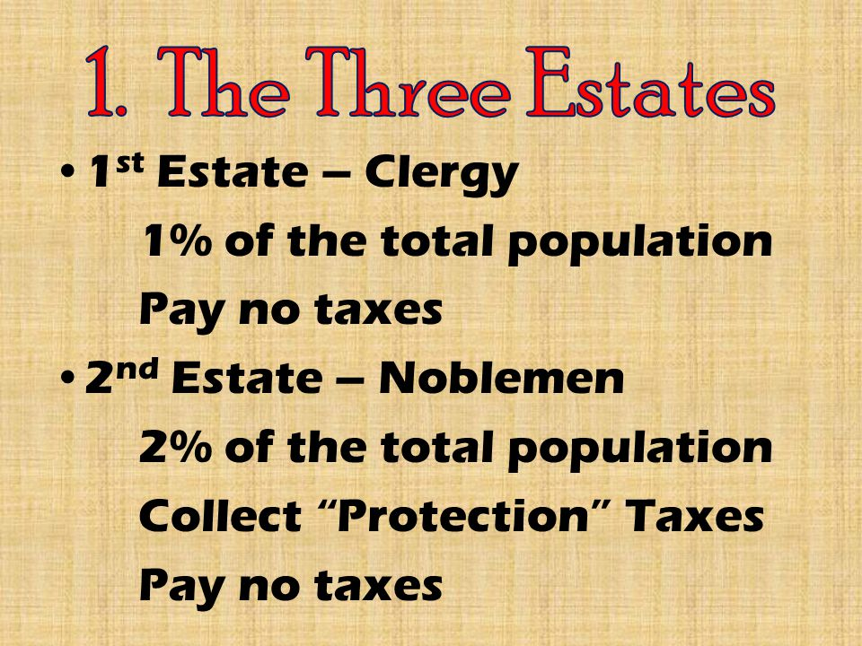 1 st Estate – Clergy 1% of the total population Pay no taxes 2 nd Estate – Noblemen 2% of the total population Collect Protection Taxes Pay no taxes