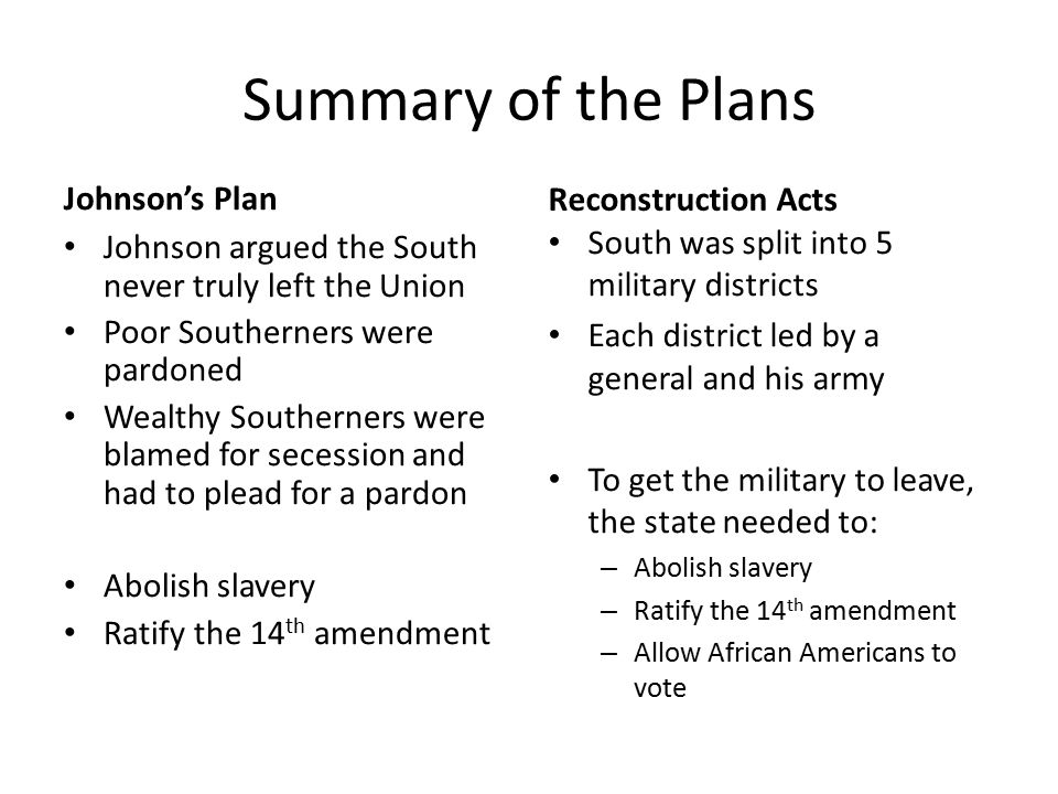 Summary of the Plans Johnson's Plan Johnson argued the South never truly left the Union Poor Southerners were pardoned Wealthy Southerners were blamed for secession and had to plead for a pardon Abolish slavery Ratify the 14 th amendment Reconstruction Acts South was split into 5 military districts Each district led by a general and his army To get the military to leave, the state needed to: – Abolish slavery – Ratify the 14 th amendment – Allow African Americans to vote