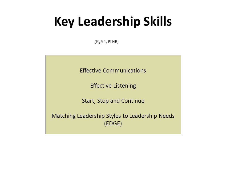 Effective Communications Effective Listening Start, Stop and Continue Matching Leadership Styles to Leadership Needs (EDGE) Key Leadership Skills (Pg