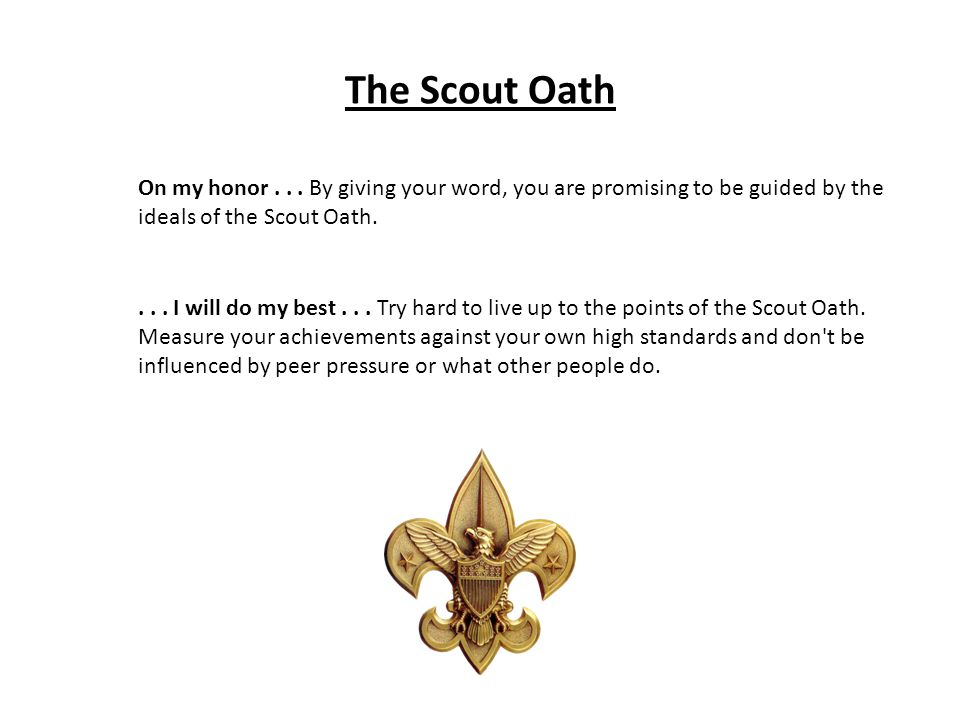 The Scout Oath On my honor... By giving your word, you are promising to be guided by the ideals of the Scout Oath.... I will do my best... Try hard to