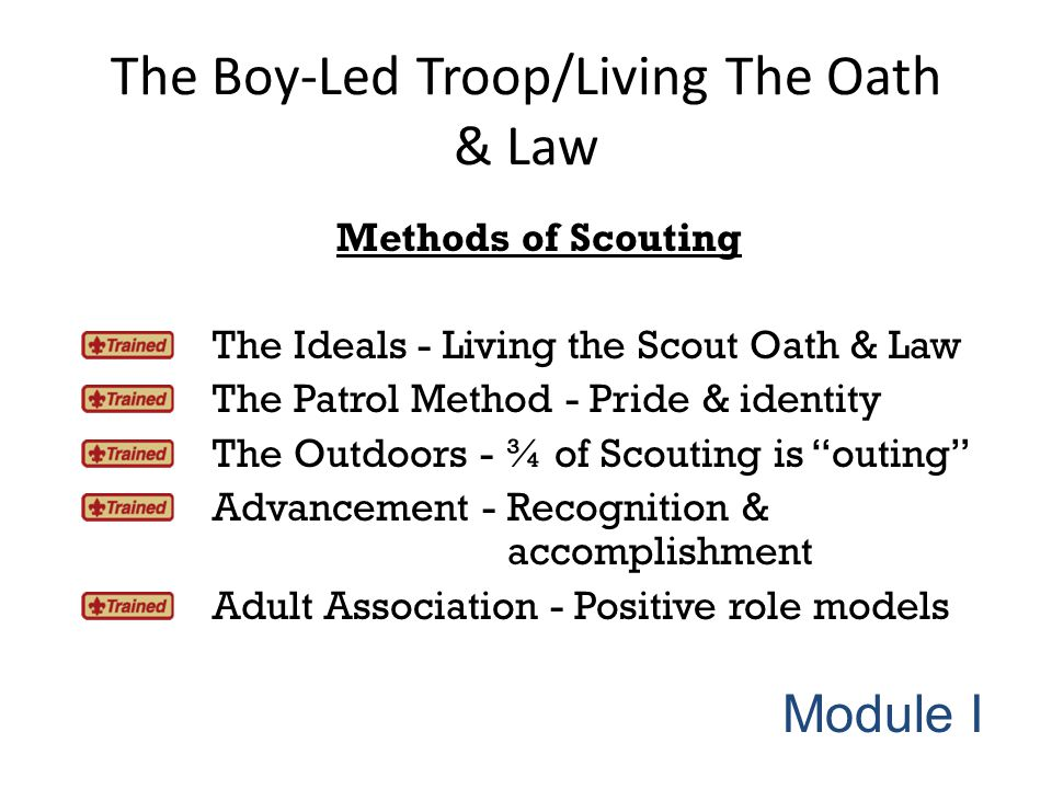 The Boy-Led Troop/Living The Oath & Law Methods of Scouting The Ideals - Living the Scout Oath & Law The Patrol Method - Pride & identity The Outdoors