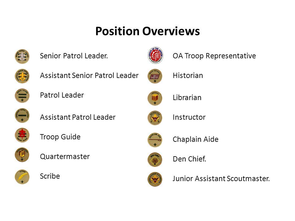 Position Overviews Senior Patrol Leader. Assistant Senior Patrol Leader Patrol Leader Assistant Patrol Leader Troop Guide Quartermaster Scribe OA Troo