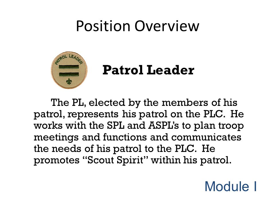 Position Overview Patrol Leader The PL, elected by the members of his patrol, represents his patrol on the PLC. He works with the SPL and ASPL's to pl
