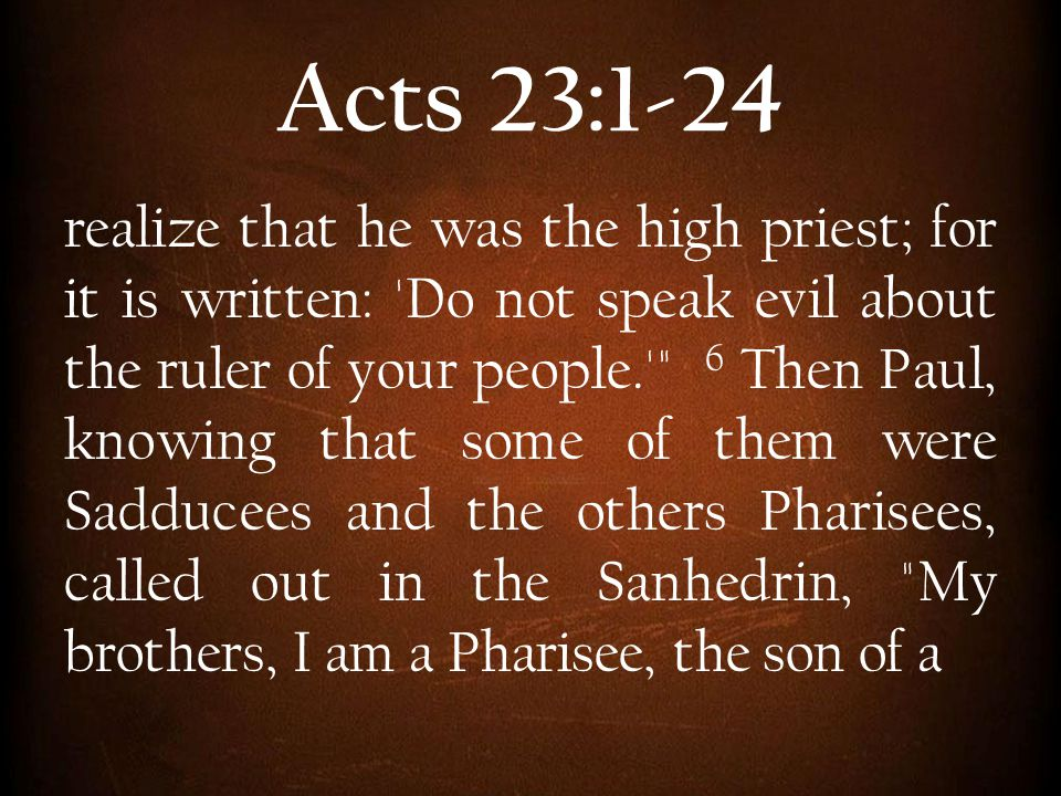 Acts 23:1-24 realize that he was the high priest; for it is written: 'Do not speak evil about the ruler of your people.'