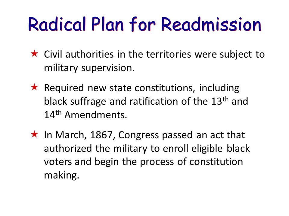 Radical Plan for Readmission  Civil authorities in the territories were subject to military supervision.