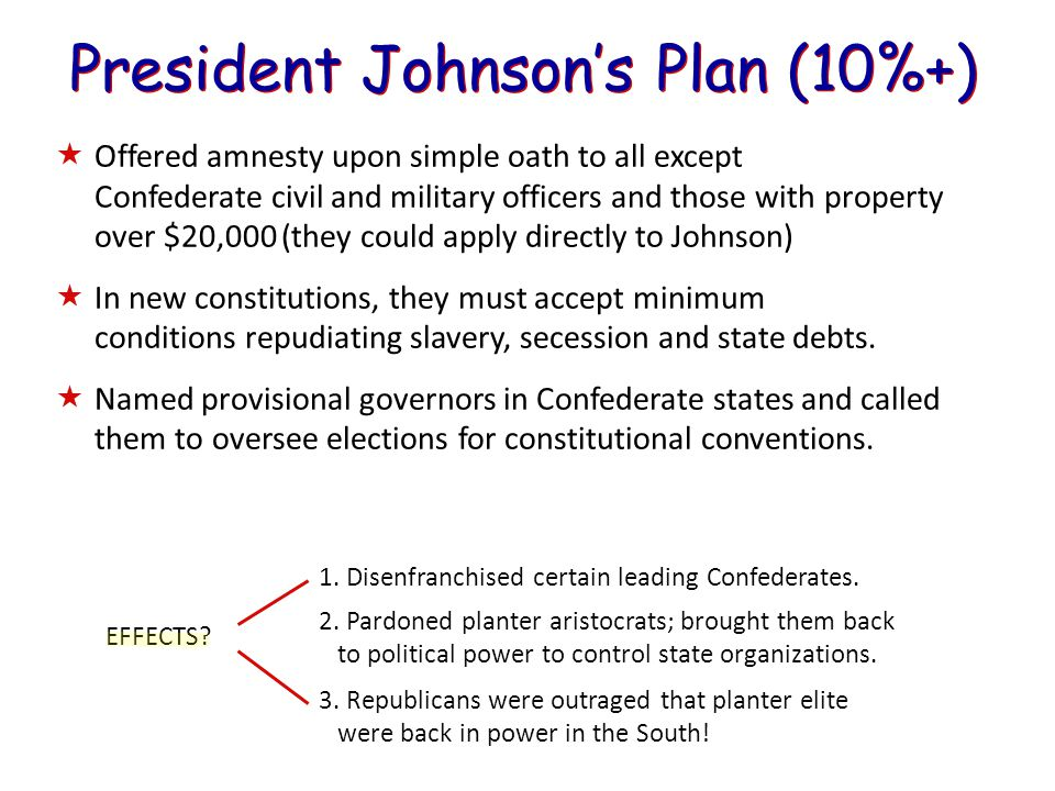 President Johnson's Plan (10%+)  Offered amnesty upon simple oath to all except Confederate civil and military officers and those with property over