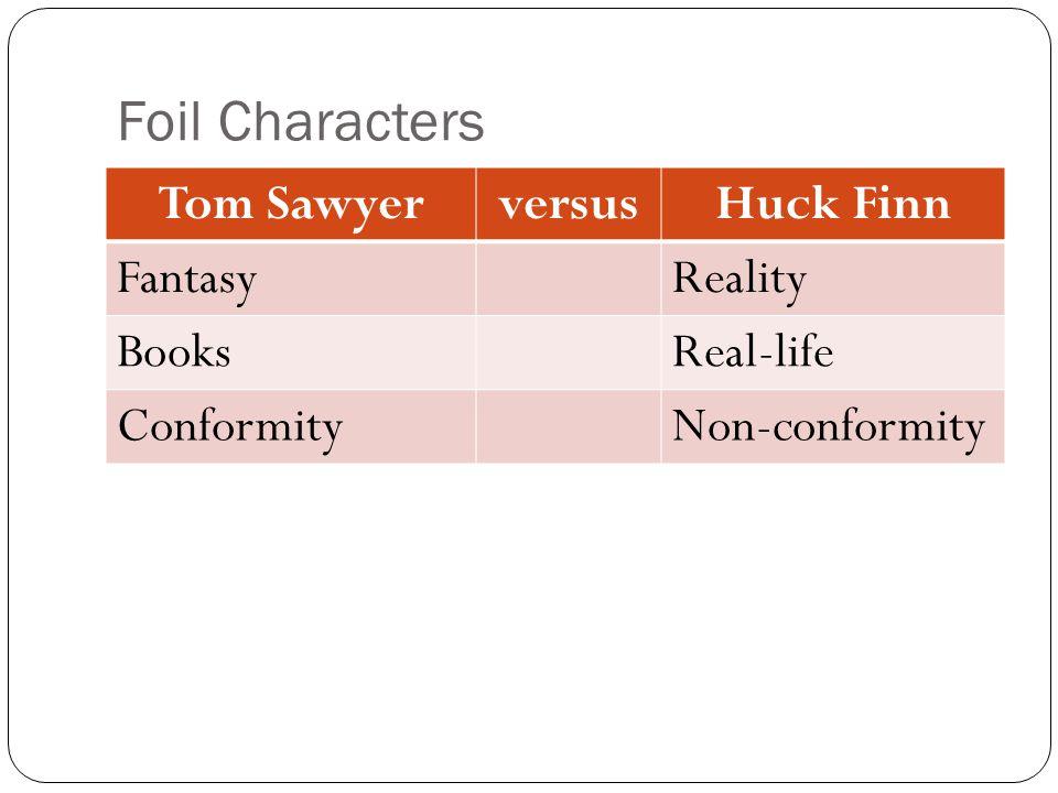 Foil Characters Tom SawyerversusHuck Finn FantasyReality BooksReal-life ConformityNon-conformity