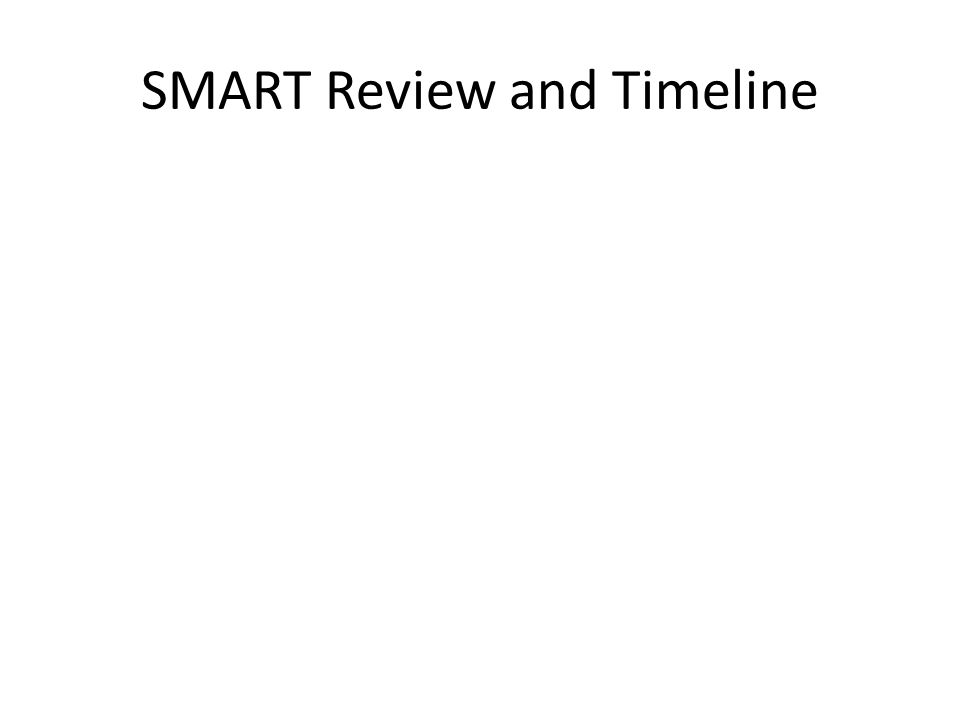 SMART Review and Timeline
