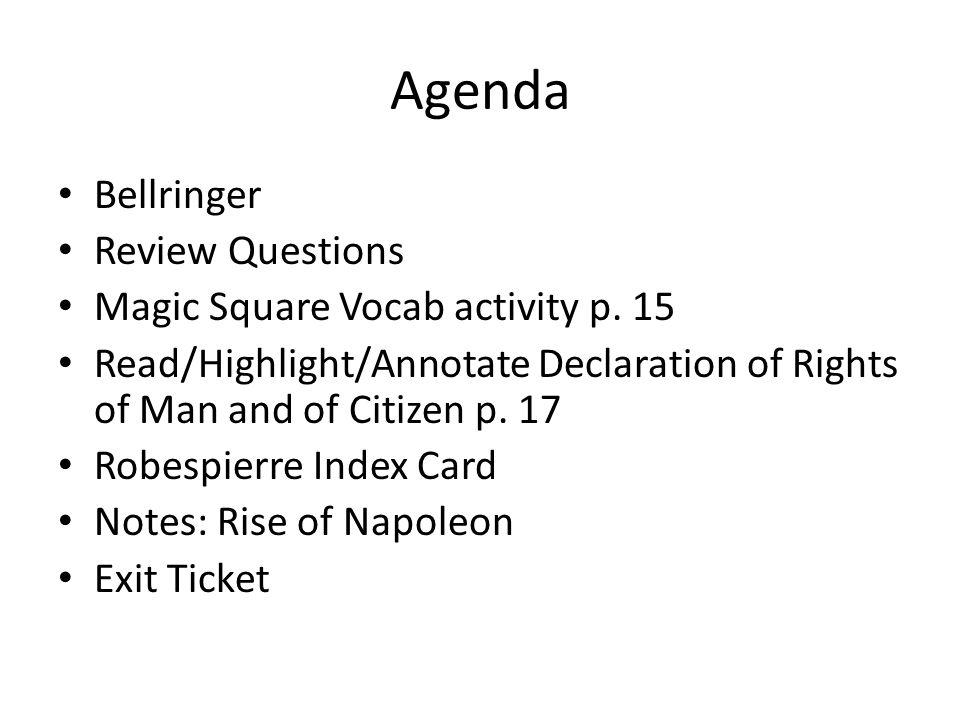 Agenda Bellringer Review Questions Magic Square Vocab activity p.