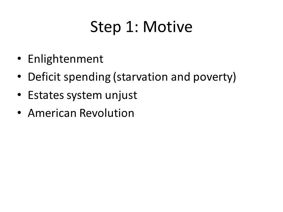 Step 1: Motive Enlightenment Deficit spending (starvation and poverty) Estates system unjust American Revolution