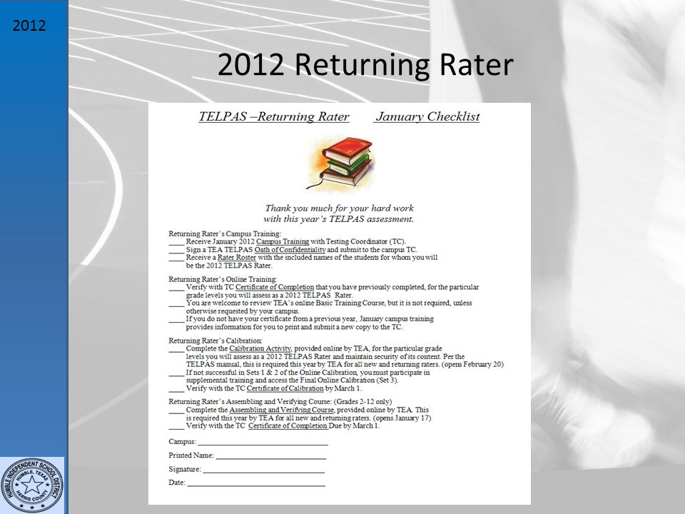 2012 2012 Returning Rater
