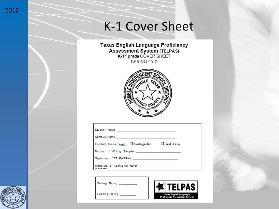 2012 K-1 Cover Sheet