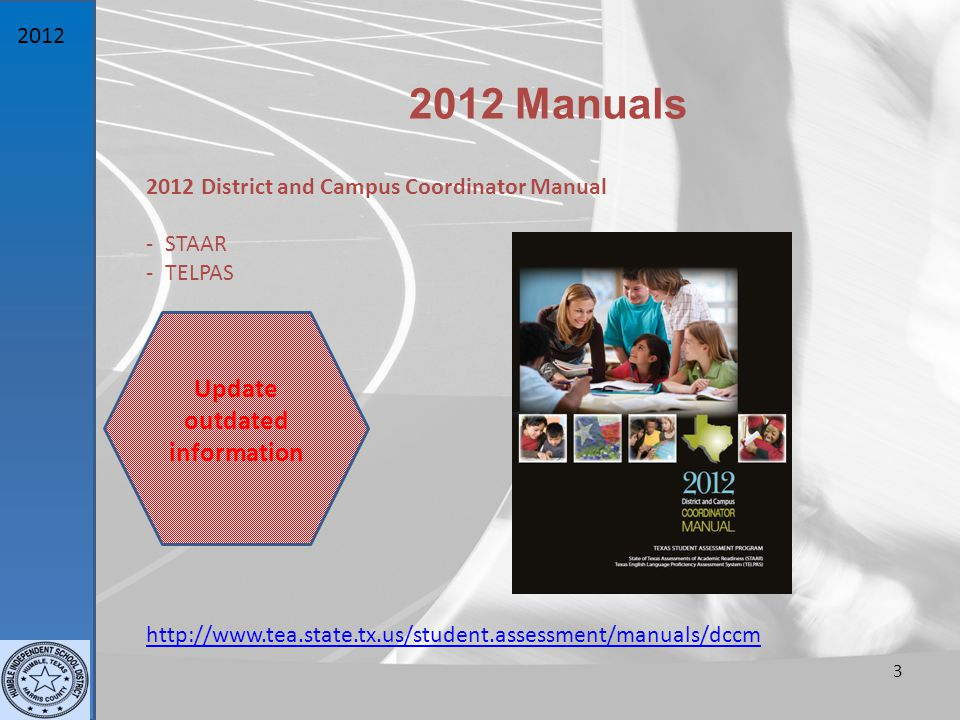 Manuals 2012 District and Campus Coordinator Manual - STAAR - TELPAS 3   Update outdated information