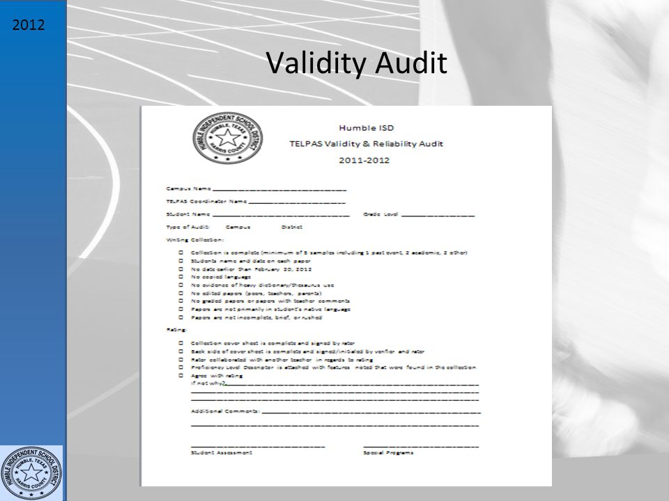 2012 Validity Audit