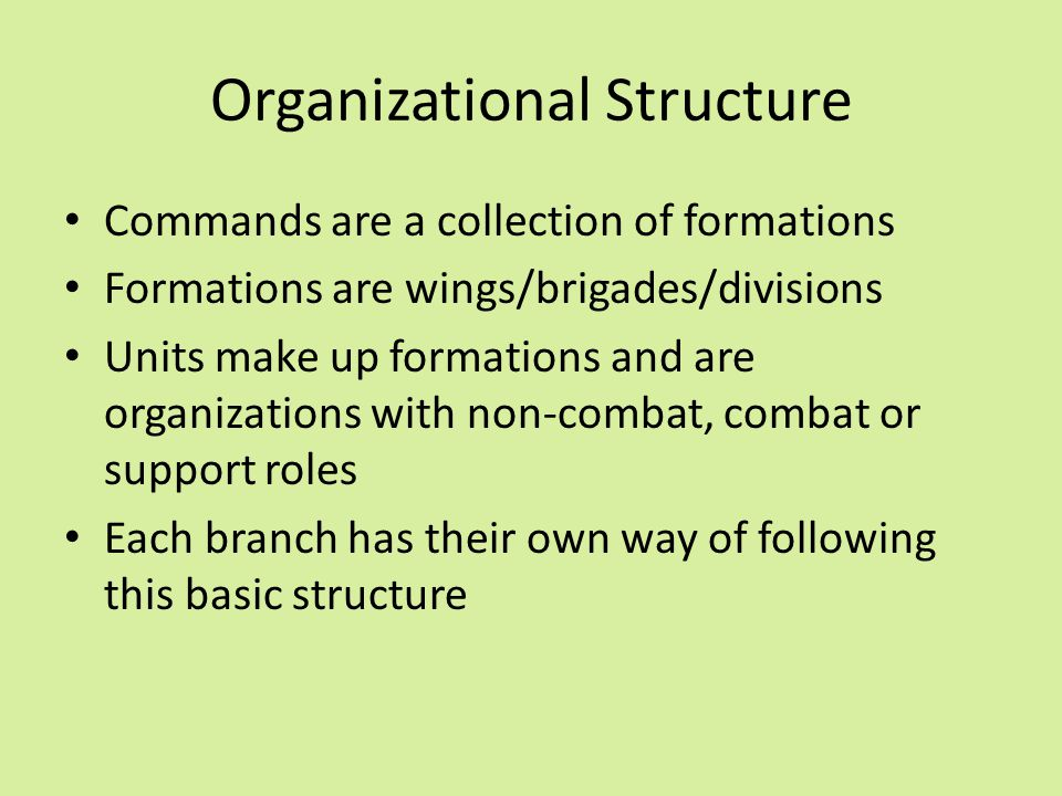 Organizational Structure Commands are a collection of formations Formations are wings/brigades/divisions Units make up formations and are organization
