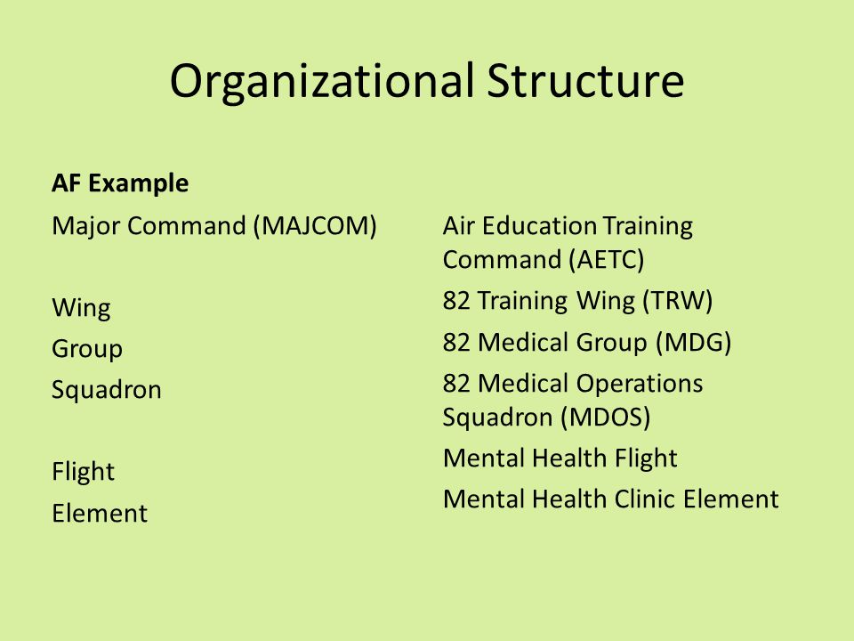 Organizational Structure AF Example Major Command (MAJCOM) Wing Group Squadron Flight Element Air Education Training Command (AETC) 82 Training Wing (TRW) 82 Medical Group (MDG) 82 Medical Operations Squadron (MDOS) Mental Health Flight Mental Health Clinic Element