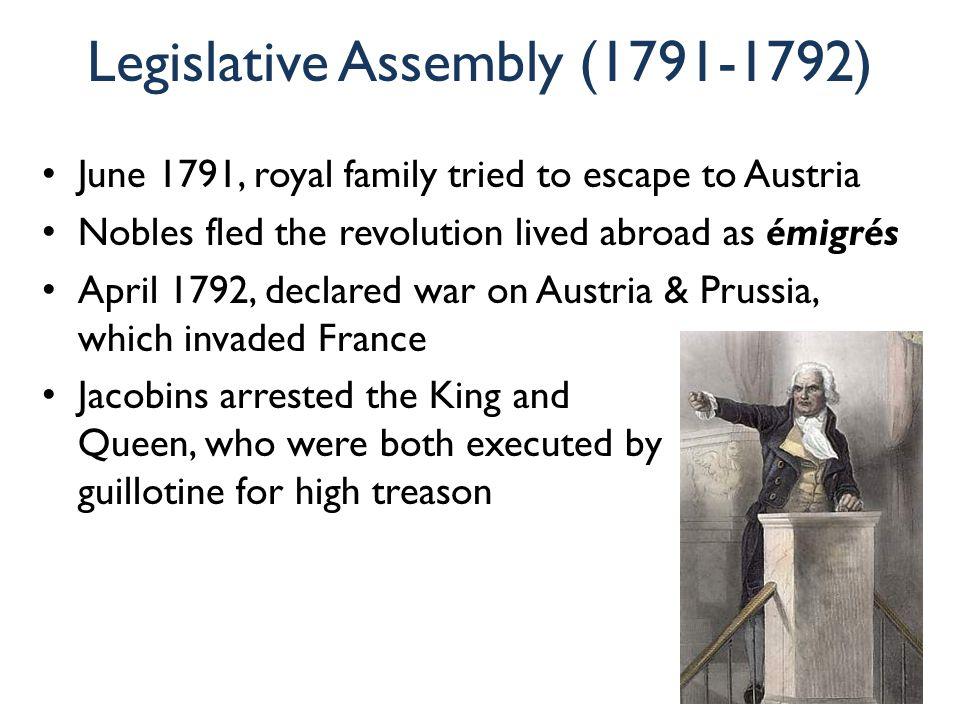 Legislative Assembly (1791-1792) June 1791, royal family tried to escape to Austria Nobles fled the revolution lived abroad as émigrés April 1792, dec